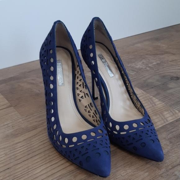 BCBGeneration Blue Suede Cutout Heels Size 6